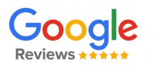 google logo on white background with five yellow stars