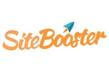 orange sitebooster logo with blue paper aeroplane above
