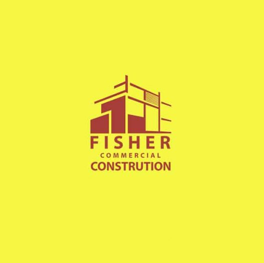 red logo for fisher commercial construction with red builing